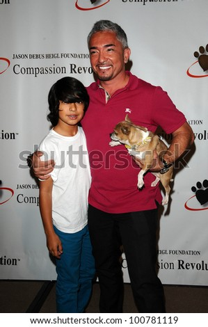 Cesar Millan, son Calvin  at a Press Conference For JDHF Animal Advocacy, Four Seasons Hotel, Beverly Hills, CA. 09-23-10