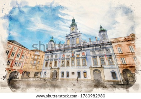CESKE BUDEJOVICE, CZECH REPUBLIC. The main square with the Renesance Town Hall. Watercolor style illustration