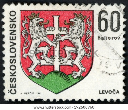 CESKOSLOVENSKO - CIRCA 1971: post stamp printed in Czechoslovakia (Czech; Slovakia) shows coat of arms of regional capitals; Levoca; two lions holding cross; Scott 1743 A590 60h red green, circa 1971