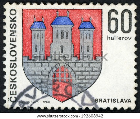 CESKOSLOVENSKO - CIRCA 1968: stamp printed in Czechoslovakia (Czech; Slovakia) shows coat of arms of regional capitals; Bratislava; 3 towers on castle; Scott 1570 A590 60h red blue gray, circa 1968