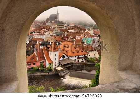 Cesky Krumlov city through rampart - stock photo