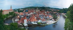Cesky Krumlov, Czech republic - 12 Aug 2010: The ancient Czech town of Cesky Krumlov. Panoramic view with the Vltava river from above. Historical centre has been designated UNESCO World Heritage Site.