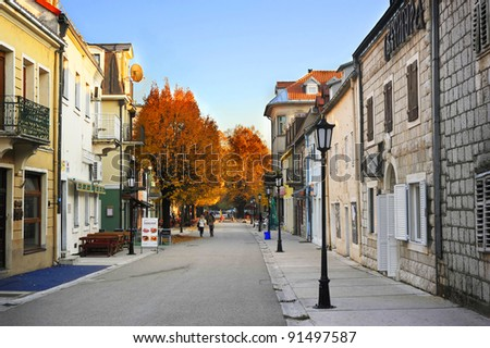 CETINJE, MONTENEGRO - NOV. 03: Old town street  on November 03, 2011 in Cetinje, Montenegro. Cetinje is a town and Old Royal Capital of Montenegro. It had a population of 13,991 as of 2011.