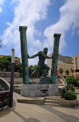 Ceuta, Spain Autonomous Spanish city in north Africa. Statue of Hercules known as the Pillars of Hercules. Greek mythology.