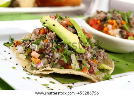 Shutterstock Ceviche toast. Mexican food