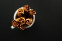 Ceylon Cinnamon Sticks in a white coffee cup on the black background