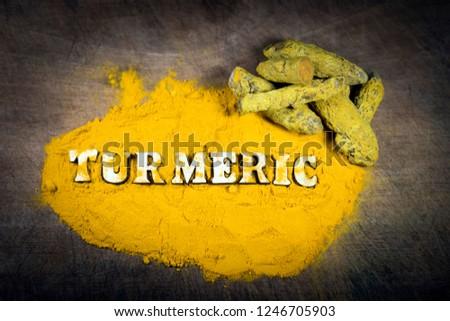 Ceylon organic turmeric. Ceylon organic turmeric powder. Original ceylon organic turmeric.Top view food. #1246705903