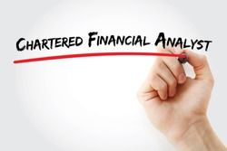 CFA â?? Chartered Financial Analyst acronym, business concept background
