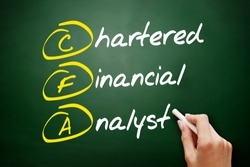 CFA – Chartered Financial Analyst acronym, business concept on blackboard