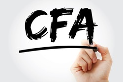 CFA - Chartered Financial Analyst acronym with marker, business concept background