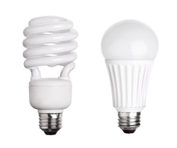 CFL Fluorescent and LED Light Bulb isolated on white background