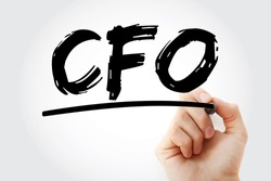 CFO - Chief Financial Officer acronym with marker, business concept background