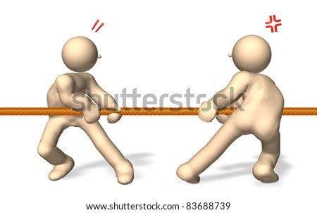 """CG image representing the """"tug of war"""". This is a computer generated image,with white background."""