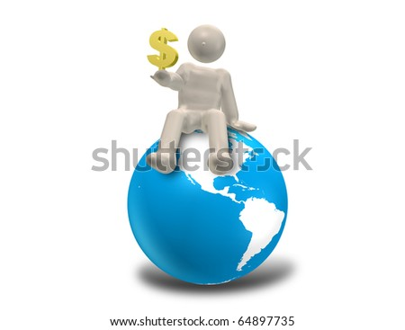 CG image representing the world market. This is a computer generated image,with white background.