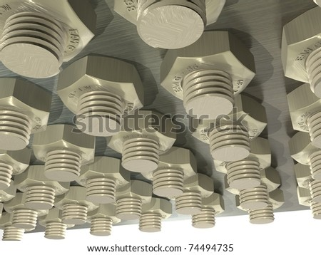 CG nut and bolt array on metal plank and white background, view from bottom