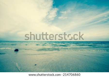 Cha Am beach in gulf of Thailand. Retro filter. #214706860