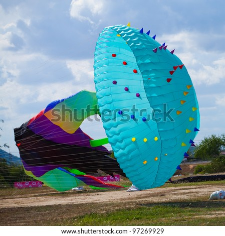 CHA-AM - MARCH 10- Colorful kites in the 12th Thailand International Kite Festival on March 10, 2012 in Naresuan Camp, Cha-am, Thailand