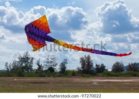 CHA-AM - MARCH 9- Colorful kites in the 12th Thailand International Kite Festival on March 9, 2012 in Naresuan Camp, Cha-am, Thailand