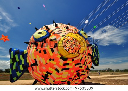 CHA-AM - MARCH 9: Colorful of kites are showing in the 12th Thailand International Kite Festival on March 9, 2012 in Naresuan Camp, Cha-am, Thailand.