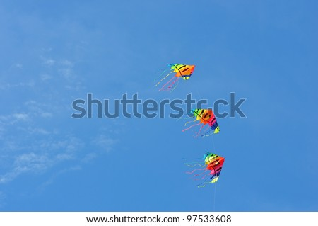 CHA-AM - MARCH 9: Colorful of kites are showing in the 12th Thailand International Kite Festival on March 9, 2012 in Naresuan Camp, Cha-am, Thailand. - stock photo