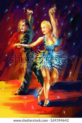 Cha Cha Dance Digital Painting Dancing Cha Cha Stock