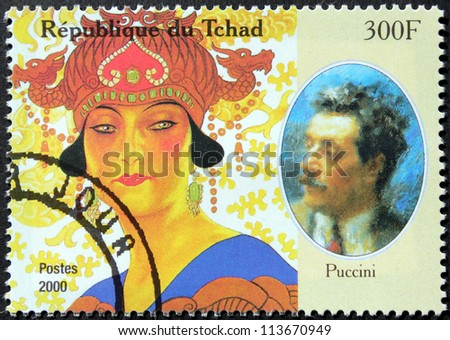CHAD - CIRCA 2000: A postage stamp printed by Chad shows image portrait of famous Italian composer Giacomo Puccini, circa 2000.