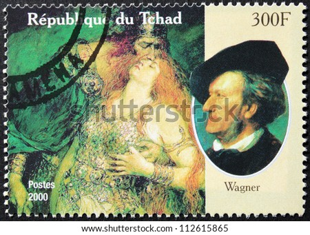 CHAD - CIRCA 2000: A postage stamp printed by Chad shows image portrait of famous romantic German composer and conductor Wilhelm Richard Wagner, circa 2000.