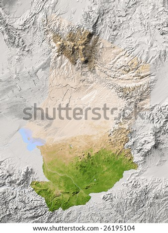 maps of chad. Shaded relief map.