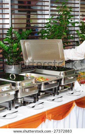 chafing dish heater at banquet