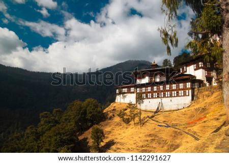 Chagri Cheri Dorjeden Monastery, Buddhist monastery near capital Thimphu in Bhutan, Himalayas.  - Shutterstock ID 1142291627