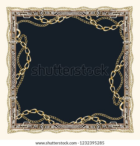 chain and belt patterned scarf