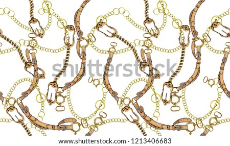 chain and belt themed, white background pattern.