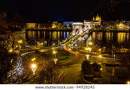Chain bridge and St. Stephen night view, Budapest, Hungary