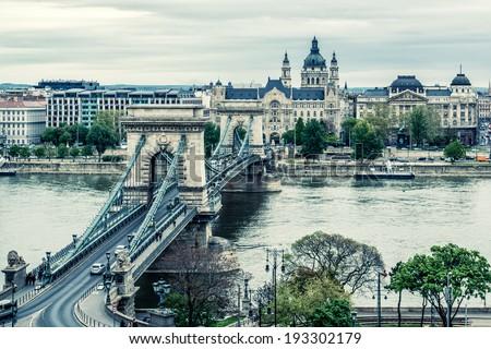 Stock Photo Chain Bridge. Budapest city. Hungary