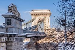 Chain bridge in Budapest at winter.