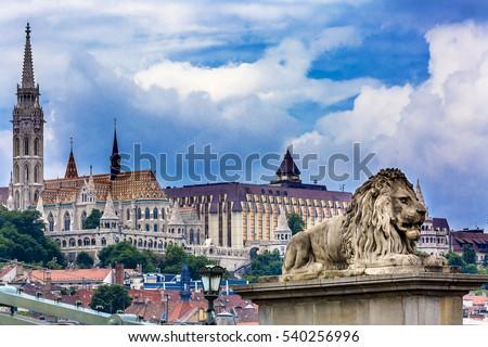 Stock Photo Chain Bridge Lion Matthias Church Fisherman's Bastion Budapest Hungary