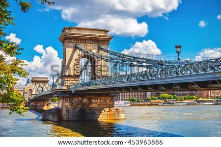 stock photo chain bridge on danube river in budapest city hungary 453963886 - Каталог — Фотообои «Мосты»