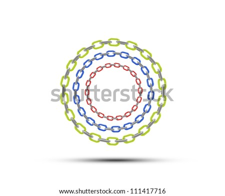 chain circle with space for copy or text - red green blue