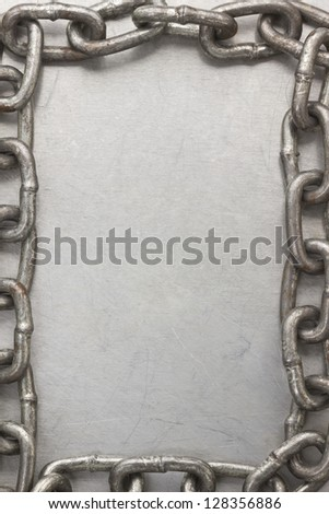 chain frame on metal  texture background