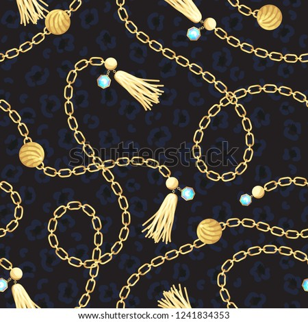 Chain gold belt pattern fashion design. Jewelry pendants accessories seamless print with animal skin texture for scarves, fabric and dress.