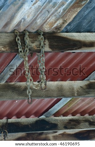 Chain hanging from shed roof