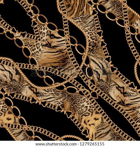 chain,jewelry and leopard skin background