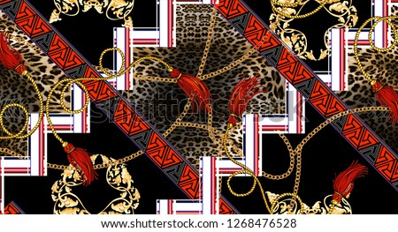 chain leopard geometric border ethnic