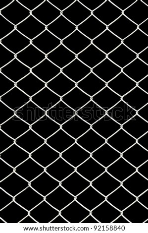chain link fence isolated on black