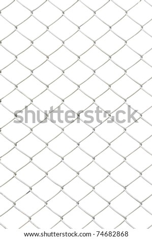 chain link fence isolated on white background