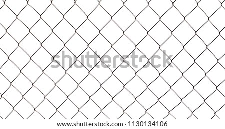 Chain-link fence isolated on white background, photo texture #1130134106
