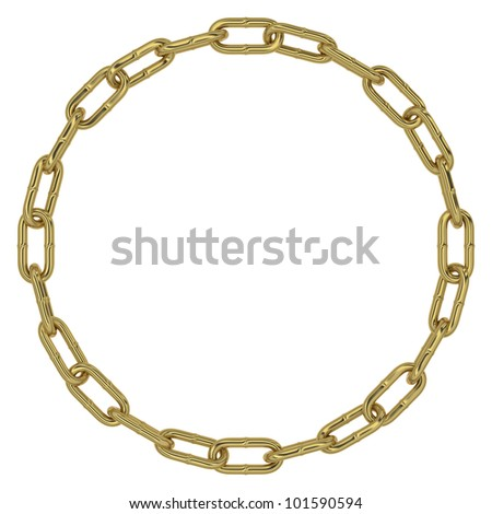 Chain links making a circular gold figure on white background
