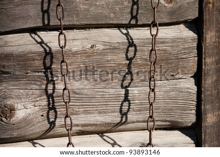 Chain of the wood wall.
