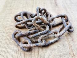 Chain. Rusted chain. Iron chain rings.