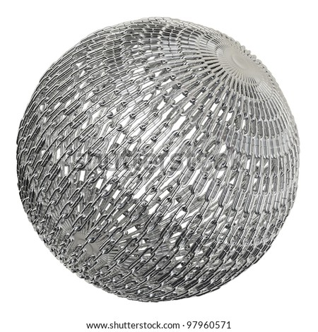 Chain sphere or globe as global supply chain on white background
